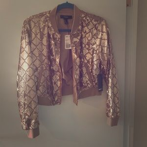 NWT Forever 21 gold sequin jacket